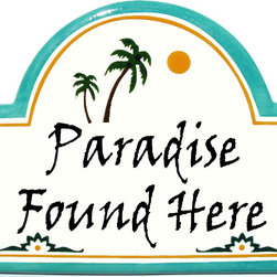 Tropical Paradise Address Plaque - To find out more and how to order click here: http://www.classyplaques.com/tropical-paradise-address-plaque/
