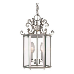 Savoy House - Savoy House Spirit Entry Foyer Pendant in Pewter - Shown in picture: Designed by Karyl Pierce Paxton; With it�s abundant curls and smooth - clean classic lines the Spirit collection is definitely and eye pleaser. The Pewter finish and Clear Beveled glass finish off the collection with a classic yet stylish look.