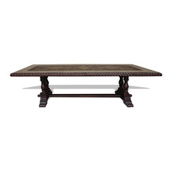 Koenig Collection - Traditional Tuscan Dining Table, Grayish Blue W/ Natural Distressed - Traditional Tuscan Dining Table, Grayish Blue W/ Natural Distressed and Gold Scrolls