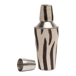 """Pigeon & Poodle - Pigeon & Poodle Browmley Zebra Cocktail Shaker - The Pigeon & Poodle Browmley cocktail shaker tops a bar with sleek style. This fab metal vessel features a classic silhouette modernized by zebra hair-on-hide accents. 4""""D x 10""""H; Cowhide; Hand wash only; not dishwasher safe; Variations may occur"""