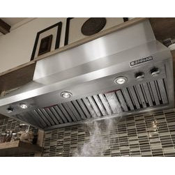 "Jenn-Air® Ventilation Options - The Jenn-Air® 48"" Pro-Style™ Wall-Mount Hood offers a bold, commercial-style look and powerful ventilation. Designed to work with high-heat, commercial-style cooking appliances, it clears the air of smoke, steam and cooking odors."