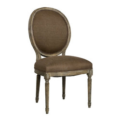 Kathy Kuo Home - Pair Madeleine French Country Oval Aubergine Linen Limed Oak Dining Chair - This chair fuses classic European design with simple rustic charm. A limed grey oak finish adds an antique touch to this Louis XVI style Medallion side chair. Upholstered in a Aubergine linen, this traditional oval back chair lends elegance to a dining room, sitting area or library.