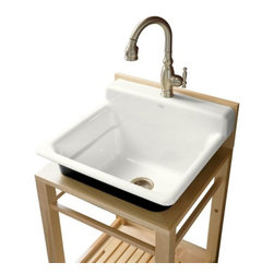 KOHLER - KOHLER Bayview Wood Stand Utility Sink with Single-Hole Faucet Drilling - KOHLER K-6608-1P-0 Bayview Wood Stand Utility Sink with Single-Hole Faucet Drilling on Top of Backsplash in White