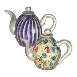 Dale Tiffany - Dale Tiffany AS12049 Favrile Transitional Teapot Set - This Favrile art glass teapot set is sure to be a conversation starter wherever it is displayed in your home. Favrile glass differs from other colored glass as the color is embedded within the glass instead merely painted on the surface. This process ensures that the color runs throughout the glass, creating a depth of color that is unmatched. These lovely teapots would be a wonderful gift for the teapot collector in your life. A lovely addition to any home or office, the vibrant colors in the teapots work well with any décor and the museum quality art will become something that will be treasured for generations.