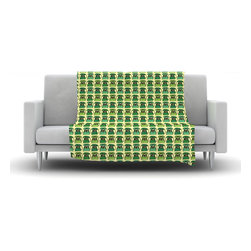 """Kess InHouse - Holly Helgeson """"Vintage Telephone"""" Green Pattern Fleece Blanket (30"""" x 40"""") - Now you can be warm AND cool, which isn't possible with a snuggie. This completely custom and one-of-a-kind Kess InHouse Fleece Throw Blanket is the perfect accent to your couch! This fleece will add so much flare draped on your sofa or draped on you. Also this fleece actually loves being washed, as it's machine washable with no image fading."""