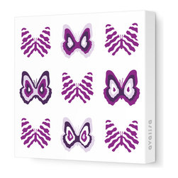 """Avalisa - Imagination - Butterfly Group 1 Stretched Wall Art, 18"""" x 18"""", Purple - Butterflies are a symbol of change and transformation, and nothing will change your room faster than graphic artwork on the walls. This butterfly grouping comes in your choice of sizes and color combinations, and is printed on stretched fabric, ready to hang."""