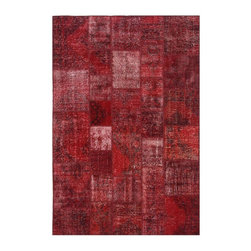 """Pre-owned Red Overdyed Turkish Patchwork Carpet - Traditional Turkish patterns from an assortment of vintage pieces mix to make this hand made, naturally distressed vintage rug. Full cotton backing and decorative blanket stitch edging.     Remnants of vintage wool on a cotton warp, made entirely by hand in the '60's through '80's when Turkish women still included weaving in their daily homemaking chores. Employing the sturdy double knot technique unique to Turkish rugs, multicolor floral and medallion motifs were created a row at a time using bright hand dyed wools. Considered too old fashioned for modern Turkish homes in their traditional incarnations, these rugs have languished in back rooms of the bazaars‰Ű_until now, as these fragments in excellent condition are overdyed and combined to create modern patchwork statements for the floor.    Note from the seller: """"Our revitalization process keeps rugs that may otherwise get tossed out of landfill. Repurposed discards are helping artisans connect and create, supporting the community we're building here in Istanbul to revive vanishing traditional fiber crafts.‰Űť    Please note that all sales are final - These amazing rugs are coming direct from Istanbul, Turkey and returns will not be allowed."""