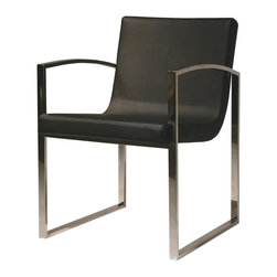 Nuevo Living - Clara Dining Chair in Black Leather by Nuevo - HGTA408 - The Clara dining chair in black leather features Italian leather with CFS foam and a high polish stainless steel frame.