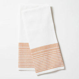 "Coyuchi - Coyuchi Diamond Stripe Tangerine Kitchen Towel Set of 2 - This Coyuchi kitchen towel set introduces eco-friendly sophistication to the modern interior. Across a white, diamond woven background, yarn-dyed, tangerine orange stripes lend a colorful accent. 16""W x 24""H; Set of two; 100% organic cotton; Due to handmade quality, slight variations in fabric may occur; Machine washable"