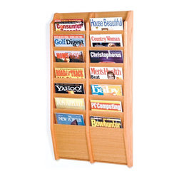 "Wooden Mallet - Fourteen Pocket Wall Mount Magazine Rack - Wooden Mallet's wall mount magazine racks offer warmth and style when displaying magazines in your lobby. Our unique overlapping design neatly displays and organizes magazines and literature, keeping them tidy and visible in the least amount of space. Available in three designer colors to coordinate with any dcor. Features: -Available in light oak, medium oak or dark red mahogany finishes. -Furniture quality construction with solid oak sides sealed in a durable state-of-the-art finish. -Wood finishes perfectly compliment Wooden Mallet's Dakota Wave furniture collections. -All racks are predrilled with hardware included for simple wall mounting. -No assembly required. -All Wooden Mallet products are warrantied for one year against defects in materials and workmanship. Specifications: -Pocket Dimensions: 8"" H x 9"" W x 0.75"" D. -Rack Dimensions: 36"" H x 20.5"" W x 3.75"" D."