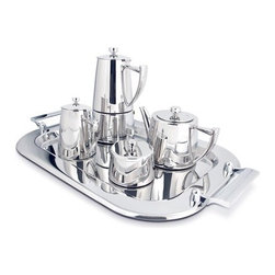 "Cuisinox - Coffee/Tea Set - Serve coffee and tea to your guests in grand style with this luxurious stainless steel ensemble from Cuisinox. This set consists of a 6 cup espresso maker, a teapot, a creamer, a sugar bowl and tray, and makes a perfect house warming gift. Features: -Set includes 6 cup espresso maker, teapot, creamer, sugar bowl and tray. -Material: 18/10 Stainless steel. -Teapot capacity: 20 oz.. -Tray dimensions: 16.5"" W x 8.3"" D."