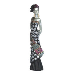 GSC - 8 Inch African Lady Black & Silver Dress Figurine - This gorgeous 8 Inch African Lady Black & Silver Dress Figurine has the finest details and highest quality you will find anywhere! 8 Inch African Lady Black & Silver Dress Figurine is truly remarkable.