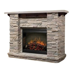 Dimplex - Dimplex Featherston Stone Mantel - Dimplex - Fireplaces - GDS261152LR - Whether you live in a condo or a bungalow the Featherston fireplace will impart the relaxed mood of a mountain lodge to any room you choose. The warmth of wood accents in the recessed header and mantel brackets serve as a rustic complement to the crisp architectural ledge rock theme.