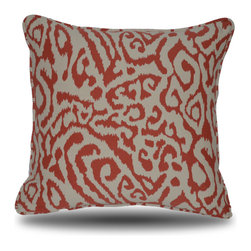 Yellow Boat Pillow Company - Carolyn Pillow - Lively, coral animal print with ikat feel!  Pattern reversed on back so you choose�coral on white or white on coral!  18x18 inches with fabric covered edge trim.  Luxurious feather/down insert included.  Exceptional fabric provides perfect high quality compliment to your furniture!  Removable cover with hidden zipper closure. Made in the USA.