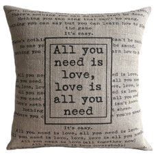 "Contemporary Decorative Pillows ""All you need is love"" cushion cover"