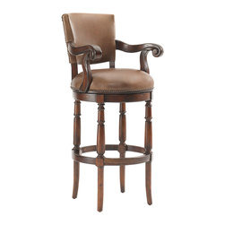 Lexington - Lexington Fieldale Lodge Pinnacle Bar Stool 455-816-01 - Available only as shown in a gently aged medium brown leather with nailhead trim and antique brass kick plate.