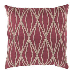 """Surya - Geometric Design Square Cotton Pillow COM-019 - 22"""" x 22"""" - This pillows vibrant geometric design is bound to make a style statement in your room. The tantalizing maroon backdrop permits the organic shapes to splash into your space, opening up the room and constructing a sense of modern magic you've been searching for. This pillow contains a zipper closure and provides a reliable and affordable solution to updating your home's decor."""