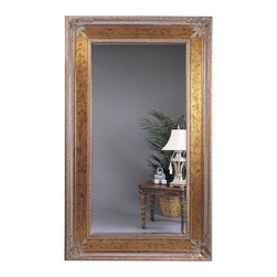 Bassett Mirror - Gold Leaf-Red Rectangle Floor Mirror - Gold Leaf with Red Rub Rectangle Leaner. Measures: 54 in. W x 96 in. H. Weight: 118 lbs