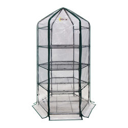"oGrow - oGrow® Ultra-Deluxe 4 Tier Hexagonal Flower Planthouse - This Ogrow hexagonal greenhouse is sure to get you up and growing in no time! Nice designed shape to keep in your deck, patio or balcony right next to you home. This Compact and portable 77"" H x 20"" W x 20"" D 4 tier greenhouse features heavy duty sturdy steel frame. Strong durable clear cover manufactured from heavy duty material. Comes with Hook and Loop connection vs. ties for quick and easy assembly and a stronger, longer lasting life span. Strong and durable powder coated shelving will hold your heavy plantings off the ground, yet allow plenty of room for growth. Roll up cover for easy access, ventilation, and moisture control. Ideal for displaying greenery in full sun. Designed with special heavy duty high quality plastic connectors for easy assembly. Get growing today and let Ogrow help you bring your green dreams to life."