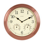 Accurite - 13 Inch Copper Indoor Outdoor Clock with Thermometer and Humidity - 13 inch round copper metal tiered profile. Black Arabic numbers on a cream dial. Quartz clock. Thermometer and Hygrometer. Fahrenheit temperature scale. Weather resistant.