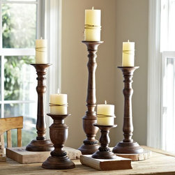 Oxford Turned Wood Candleholders - These wooden candlesticks have classic elegance. Bring them outdoors and set them among nautical elements to add height and just the right amount of sophistication to your table.