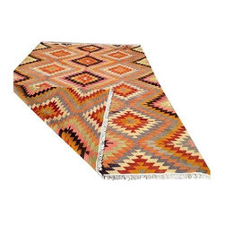 Pre-owned Vintage Handwoven Turkish Kilim Rug - A beautiful handmade decorative kilim, approximately 60 years old. Vintage Turkish Anatolian Dowry kilim made in Turkey. This piece features a beautiful and funky tribal zigzag design. Amazing and unique in characteristics and color. Wool on cotton using both vegetable and synthetic dyes. Very fine quality. Professionally cleaned and ready to use.