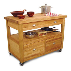 Catskill Craftsmen - The Grand Americana Worckcenter w Drawers & C - Robust proportions and abundant work & storage space make this Grand Americana island essential for your kitchen. Expertly crafted from fine hardwoods, it has 3 total drawers and super-spacious center shelf for pots, pans and more. Locking casters keep this mobile workcenter in place. Kitchen Islands. Made of Northeastern Hardwood from the Catskill Mountains. Overall: 26 in. L x 48 in. W x 35.50 in. H (180 lbs.). Table top: 26 in. L x 48 in. W x 1.75 in. H. Open shelf: 23.5 in. L x 45 in. W x 8.75 in. H. Top interior drawer: 17 in. L x 38.5 in. W x 5 in. H. Bottom interior drawer: 18 in. L x 17 in. W x 11 in. H. Solid butcher block top. Open storage shelf for easy access. Wide top drawer to maximize space. 2 Deep bottom drawers. Smooth glides for each drawer. 4 Locking 3-inch casters. Made in the USAHearkening back to a time when size, capacity and functionality were seamlessly integrated with beauty and style, the Grand Americana boasts enormous storage, a spacious work area, and classic style. No more getting on your knees to dig in the back of the cabinets for your big pots and pans! We designed the Grand Americana with the household cook in mind. Easy access, easy storage, easy to move. Easy to see why your kitchen deserves the Grand Americana. Like the classic American automobiles of yesteryear, the Grand Americana displays superior American craftsmanship, sturdy construction, and a look that will transcend time.