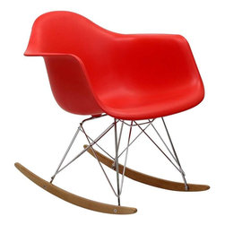 Modway - Rocker Lounge Chair in Red - Not Grandma's rocking chair, this mid-century retro modern rocker, has the avant garde style of today that adds pizzazz to your room. Still a comfortable seat for lulling children to sleep or moving in time to music, this rocking chair is the symbol of the modern home.