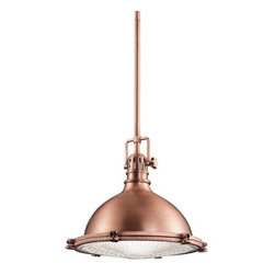 Kichler - Kichler 2666ACO Hatteras Bay Single-Bulb Indoor Pendant Dome-Shaped Metal Shade - Classic industrial form in a 1 light pendant is what you will find in this Antique Copper, Polished Nickel or Olde Bronze fixture from the Hatteras Bay collection.Product Features: