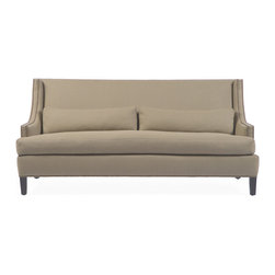 Kathy Kuo Home - Bruno Hollywood Regency Beige Linen Feather Down Condo Sofa - Whether you are passionate for Hollywood Regency or Mid Century style, there will be a place in your heart and home for this classic sofa.  With nail head details on the arms and sleek, high back, a formal but inviting effect is instantly achieved.