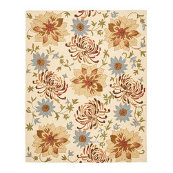 Safavieh - Country & Floral Blossom 8'x10' Rectangle Beige - Multi Color Area Rug - The Blossom area rug Collection offers an affordable assortment of Country & Floral stylings. Blossom features a blend of natural Beige - Multi Color color. Hand Hooked of Wool the Blossom Collection is an intriguing compliment to any decor.