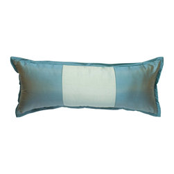 "Mystic Valley - Mystic Valley Traders Profiles Silk Turquoise - Large Boudoir Pillow - The Profiles Silk Turquoise large boudoir pillow is fashioned from Aquamarine fabric and Seafoam center panel, reversing to the Aquamarine fabric, and finished with a Turquoise 1/2"" mitred edge; 12""x30""."