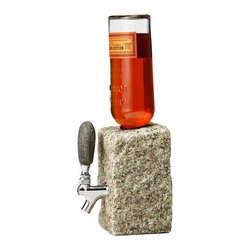 "Funky Rock Designs - Stone Beverage Dispenser - Our hottest product, the one and only Booze dispenser. Why not serve your drinks ""on the rocks""? You may not be able to get water from a stone, but you can tap your favorite drinks. Cut from cobbled granite and completed with a 100% stainless steel valve, each with a one of a kind beach stone tap handle, the rock drink dispenser makes a unique addition to your parties, events and home decor. Handmade in New Hampshire. Color and size will vary slightly as each rock is nature made. Alcohol not included. Hand wash with soap and water."