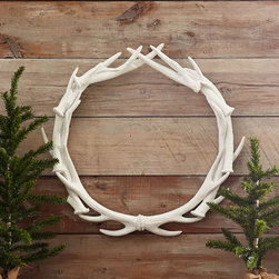 WHITE ANTLER WREATH - NEW - Bring a touch of the countryside to your home with this handsome wreath. Beautifully entwined faux antlers finely crafted from resin will add a masculine, rustic—yet modern—touch to any door or greenery. The unique design blends well with traditional, modern, and especially classic country décor—a true trophy of style.