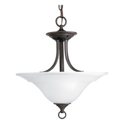 """Progress Lighting - Progress Lighting P3473-20 Trinity 16"""" Semi-Flush Mount Ceiling Fixture, - Graceful and bold, this two light convertible ceiling fixture can be converted into a semi-flush mount or hung from matching chain to create a dazzling pendant.  With an etched glass bowl and 200 watts of lighting power, this fixture is the perfect addition to a dining room, living room, or any other space.Features:"""