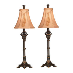 Kenroy Home - Kenroy Home Rowan Metallic Bronze Buffet Lamp (Pack of 2) - Traditional and adorned in classical details these buffet lamp sets bring ornate beauty to the serving table or bed stand. With two lamps to a set these cost conscious accessories are an amazing value. Kenroy Home is classic with lighting designs that remain timeless and elegant. Their designers take special care to develop application specific lighting with amazing style. Kenroy Home is high style with the most fashion forward and trend setting pendants and ceiling fixtures in the design world. From warm chandeliers over the dining room table to soft and cozy lamps in the family room… Kenroy Home is helping to shine a light on what really matters. Specifications Bulb Info: 1-60 Watt (M) Bulb; On/Off Socket Switch Shade Info: 12 Inch Width Butterscotch Cut Corner Shade Material: Resin Finish: Metallic Bronze.