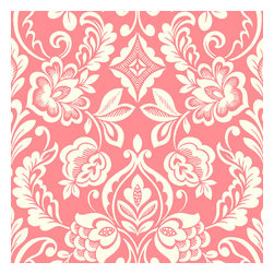 Design Your Wall - Brocade Bloom Damask, Carnation - Wallpaper Tiles - Featured Designs by Astek Inc