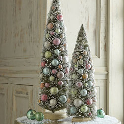 "Horchow - 18"" Bauble Tree - Miniature Christmas trees, flocked and covered with colorful baubles, stand ready to decorate your entry table, end table, or fireplace mantel. Hand painted and handcrafted. 18"" tree, 6""Dia. x 18""T. 24"" tree, 6.5""Dia. x 24""T. Imported."