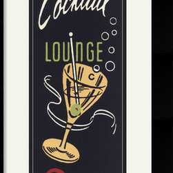 Amanti Art - Cocktail Lounge Framed Print by Retro Series - Travel back to those days of yesteryear with this retro styled accent for your kitchen, bar or lounge  do you prefer your martini shaken or stirred?