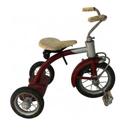 Child's Tricycle - 1950s child's tricycle in original red and silver paint and in working order, found in Ohio. Tricycle
