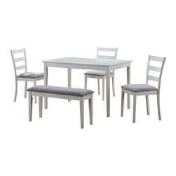 Monarch Specialties - Monarch Specialties 5-Piece Dining Set with Bench and Side Chairs - This casual dining set is the perfect solution for small kitchens or dining spaces. The sleek rectangular dining table features tapered square legs that adds a modern appeal. The side chairs have horizontal curved back slats and are upholstered in a padded two tone material. Not only is the bench ideal for small spaces, it concludes the unique and trendy look of this dining ensemble. Finished in a crisp white, this cool contemporary five piece dinning set is a great addition to any home or apartment. What's included: Table (1), Chairs (3), Bench (1).
