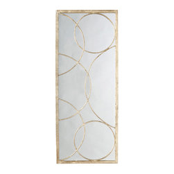 "Arteriors - Arteriors Nikita Gold and Iron Mirror - Delicate circles overlap to form a chic geometric overlay on the rectangular Nikita mirror by Arteriors. Hung alone or with additional panels, this glam accent dresses up a living room, hallway or foyer wall. 18""W x 45""H; Iron frame with gold leaf; Plain mirror"