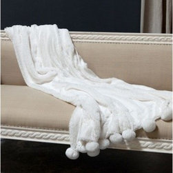 Pom Pom at Home Pom Pom Blanket Throw - This gorgeous throw can accent any room of the house. It is 100% polyester and should be washed in cold water by han