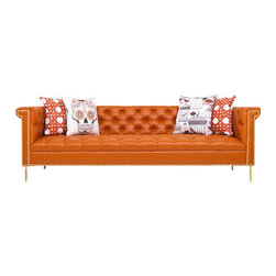 "Sinatra Sofa in Hermes Orange Faux Leather - Frank's dulcet tones are ever present in this beautiful sofa. Bring the classic crooner to your living room for unmatched style and comfort. Finished in Hermes Orange Faux Leather with polished brass Nail Heads and our 5"" polished brass legs."