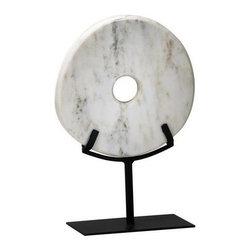 Cyan Design - Cyan Design Small White Disk on Stand Sculpture in White, Small - Small White Disk on Stand Sculpture in White