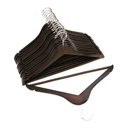 Florida Brands - Mahogany Finish Wood Suit Hangers -Set of 16 - Suit Hangers: