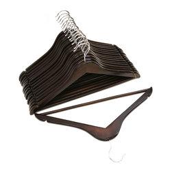 Florida Brands - Mahogany Finish Wood Suit Hangers -Set of 16 - Suit Hangers: