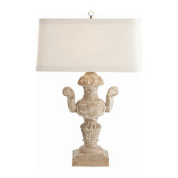 """Arteriors Home - Arteriors Home Monte Carlo Hand Carved Solid Wood Trophy Lamp - Arteriors Home D - Arteriors Home DR12036-610  - The Monte Carlo Trophy Lamp is hand carved from solid wood, featuring intricate details. The shade is constructed of off-white linen with a cream cotton lining and 1"""" trim.Designer: Lisa Luby Ryan"""