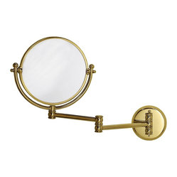 "Traditional Gatco Polished Brass 19 1/2"" Wide Swing Arm Wall Mirror"