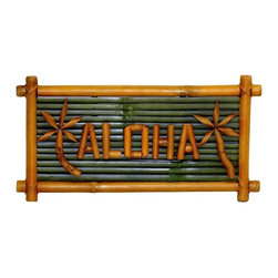 "Bamboo54 - Bamboo Small Aloha Sign - Beautiful authentic bamboo sign. Welcome your guest or friends into your home or shop with this lovely aloha sign. Makes a perfect wall hanging for the tiki lovers in everyone. Measures 20"" L x 10"" H."